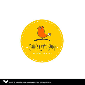 Craft Logo, Premade logo, Cute Craft logo, Jewelry Logo, Knitting logo, Toys logo, Bird logo, Work kraft logo, Sewing Logo, Photography logo