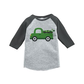 Custom Party Shop Kids Green Truck St. Patricks Day Grey Raglan