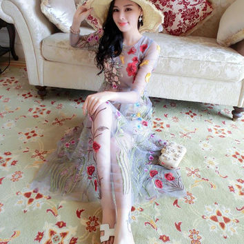 Elegant Lace Long 2 Pieces Dress Runway Women Long Sleeve Floral Mesh Gauze Sexy Perspective Embroidered Maxi Dress