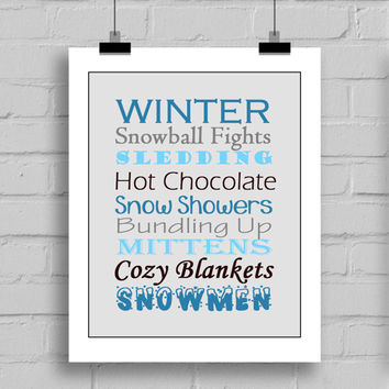 Winter Word Art Typography Print, Christmas Decorations, Home Decor Wall Art, PDF/JPG, (8x10 Inches)