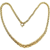 Elegant 18K solid gold necklace Stamped French spiga wheat chain design