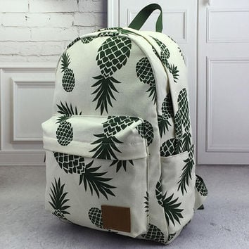 Cute Retro Pineapple Print Rucksack Backpack School Bag