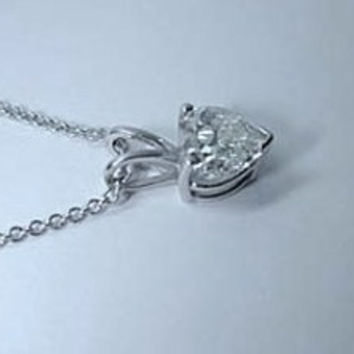 1.02ct Heart shape Diamond Pendant Necklace 18kt White Gold JEWELFORME BLUE