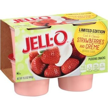 JELL-O Limited Edition Strawberries and Creme Pudding Snacks, 4 count, 15.5 oz - Walmart.com