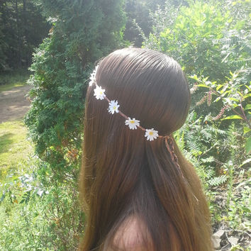 Daisy headband, Daisy Flower Crown, Flower Headband, White Daisy HeadBand, White Daisies, Coachella , Hippie Headband,  Flower Child, boho