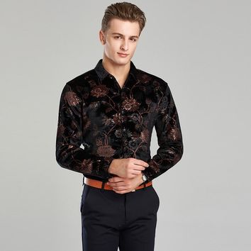 2017 Spring & autumn top quality new fashion design mens gold velvet shirt long sleeve floral dress shirts