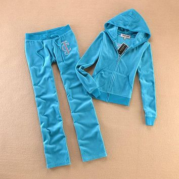 Juicy Couture Studded Logo Crown Flower Velour Tracksuit 8604 2pcs Women Suits Blue