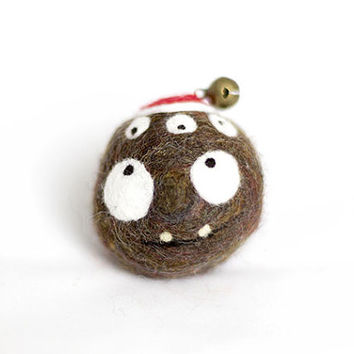 Children gift. Christmas Gift. Homemade supernatural felted soap. Jingle bell. For children and adults! Funny one with 5 eyes and red hat