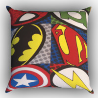 Pop Comic Super Hero Logo X1157 Zippered Pillows  Covers 16x16, 18x18, 20x20 Inches