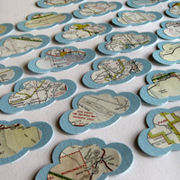 Clouds  Vintage Map backed by Textured Cardstock by ScrappyDoodads