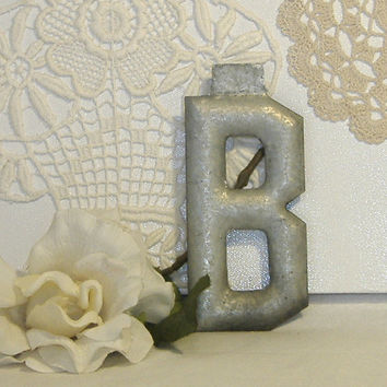 Marquee Vintage Industrial Letter B c1900 Industrial Salvage Decor 5 Inch Metal Architectural Unused Condition Alphabet