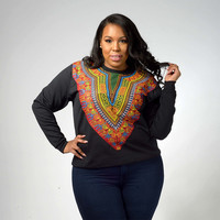 Unique Style Big Plus Size Ethnic African Print Dashiki Hoodies Sweatshirts Autumn Long Sleeve Shirt Hipster Tops 90144