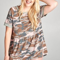Blushing Camo Babydoll Top | Plus