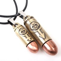 His and Hers Male and Female Symbol Heart Bullet Shell Charm Pendant on Handmade Leather Necklace