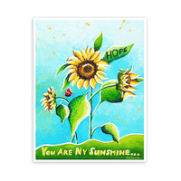 You Are My Sunshine Print, Sunflower Art, Kids Wall Art, Nursery Decor, Large Archival Print from Original Painting 11x14 Signed Print
