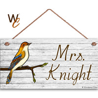 "Teacher Sign, Colorful Bird Personalized Sign, Teacher's Name, Classroom Door Sign, Gift For Teacher, 5"" x 10"" Sign, Made To Order"