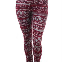 Plus Size Tribal Print Burgundy Leggings, Plus Size Clothing, Club Wear, Dresses, Tops, Sexy Trendy Plus Size Women Clothes