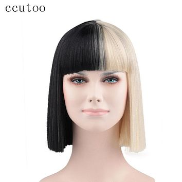 Half Black and Blonde Medium Synthetic Party Wigs