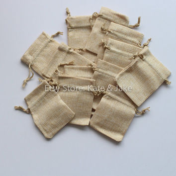 12 New Burlap Jute Drawstring Vintage Wedding Party Favor Candy bags