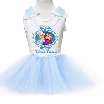 Frozen Elsa And Anna Personalized Birthday Tutu Skirt With Ruffles and Ribbon