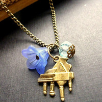 Vintage necklace piano charm violet flower blue crystal