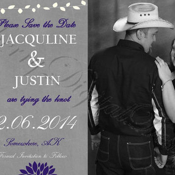 Printable Wedding Save the Date Purple, silver, white. Printable Wedding Save the Date Purple, gray, white. Custom Wedding INvitation PDF