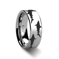 Shark Swimming Pattern Polished Tungsten Ring