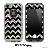 Abstract Woven Color Pattern and Black V6 Chevron Pattern Skin for the iPhone 5 or 4/4s LifeProof Case