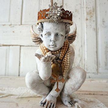 Ornate cherub statue wearing rusty rhinestone crown French Santos inspired distressed painted angel figure handmade decor anita spero design