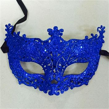 1Pc Masquerade Performance Half Face Fox Sequin Lace Mask Princess Venice Mask Halloween Christmas Party Ball Mask