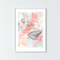 Fine art print, No 28, modern watercolor, abstract, color, gray, green, blue, orange, peach, pink, home decor, painting, gift, pattern