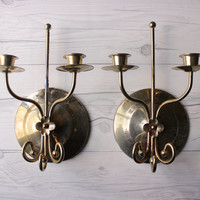 Pair of 2 Vintage Brass Toned Metal Candle Wall Sconces | Made in the USA