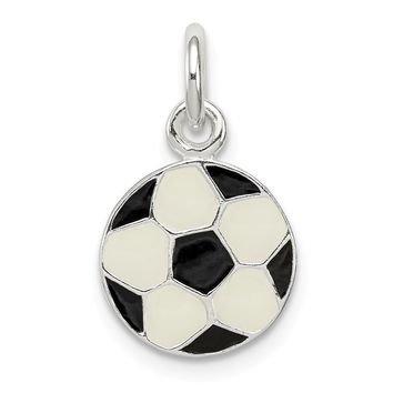 925 Sterling Silver Enameled Soccer Ball Charm and Pendant