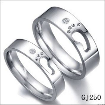 Special Foot Print Couple Promise Rings Love Step Hollow Design (one Piece Price) = 1930253380
