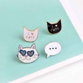 Cat Enamel Animal Brooch Badge Denim Jacket Pin Fashion Jewelry