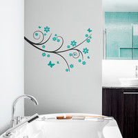 Butterfly Flower Branch Wall Decal