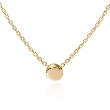 S.Leaf Sterling Silver Tiny Dot Necklace Round Circle Necklace for Woman