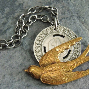 Flying Bird Necklace, Subway Token Necklace, Repurposed Vintage Token,  Assemblage Necklace, Whimiscal, Brass, Silver, Mixed Metal