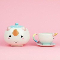 Unicorn Teapot and Teacups & Saucers SET