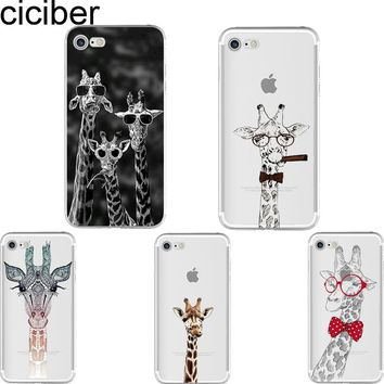 ciciber Cute Animal Giraffe Pattern Design soft silicon phone cases cover For iPhone 6 6S 7 8 plus 5S SE X Capinha Coque Fundas