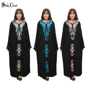 Dubai Kaftan Jilbabs Embroidery Abayas Maxi Dress