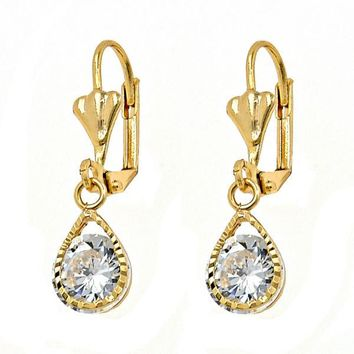 Gold Layered Dangle Earring, Teardrop Design, with Crystal, Golden Tone