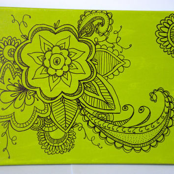 Original Green Flower Drawing on Canvas 8x10 by WhitSpeaks on Etsy