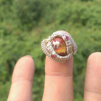 """SIZE 3.5 Ruby Opal Gemstones Wire Wrapped Ring """"Jelly Belly"""""""
