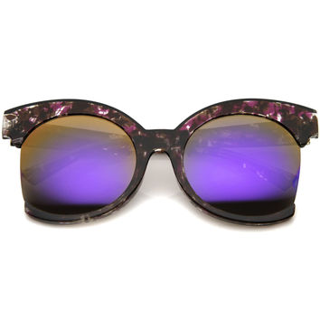 ELMA OVERSIZED SIDE CUT CAT EYE MIRROR SUNGLASSES