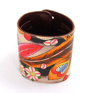 Leather Wallet Cuff / Bracelet Purse - Tattoo Cherry Blossom and Feathers