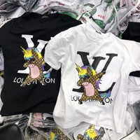 """Louis Vutitton"" Personality Cartoon Horse Pattern Letter Print Women Casual Short Sleeve T-shirt Top Tee"
