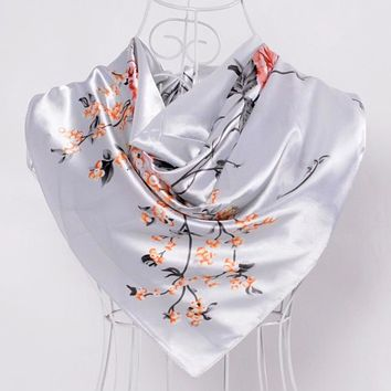 STYLEDOME Roses Floral Large Square Scarves Silk Scarf Shawl 90*90cm