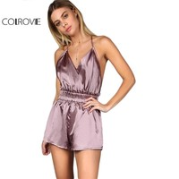 COLROVIE Summer Rompers Womens Jumpsuit Overalls for Women Purple Surplice Front Crisscross Back Elastic Waist Cami Romper