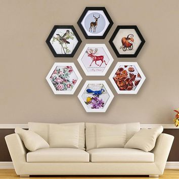 Creative Hexagon Photo Frame Wall Mounted Home Decor